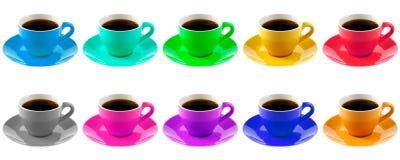 Gekleurde koppen van koffie Stock Foto's