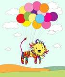 Gekleurde leeuw die op ballons vliegt Stock Illustratie