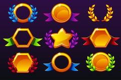 Gekleurde malplaatjes voor toekenning, die tot pictogrammen voor mobiele spelen leiden Vectorconcept het gokken activa, vastgeste royalty-vrije illustratie