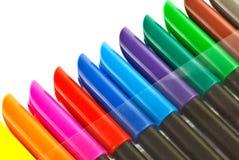 Gekleurde markeerstiftkappen Stock Afbeeldingen