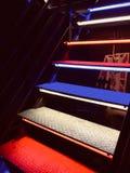 Gekleurde metaaltreden op een nachtclub royalty-vrije stock foto's