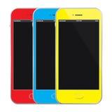 Gekleurde Mobiele Telefoons Vectorillustratie Stock Fotografie