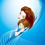 Gekleurde moeder en kind,   Stock Afbeeldingen