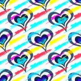 Gekleurde mooie harten op de dag van het heilige valentijnskaart naadloze patroon stock illustratie