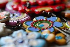 Gekleurde oorringen Stock Foto's