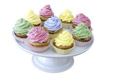 Gekleurde pastelkleur cupcakes Royalty-vrije Stock Foto's