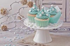 Gekleurde pastelkleur cupcakes Royalty-vrije Stock Afbeelding