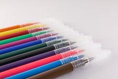 Gekleurde pennenclose-up Stock Foto's