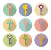 Gekleurde pictogrammen van sleutels Stock Afbeelding