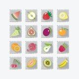 Gekleurde pictogrammen van vruchten met schaduw Stock Illustratie