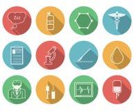 Gekleurde pictogrammen voor anesthesiology Stock Foto