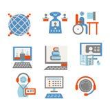 Gekleurde pictogrammen voor Internet-onderwijs Stock Afbeeldingen
