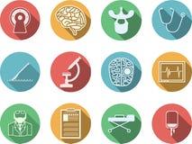 Gekleurde pictogrammen voor neurochirurgie stock foto's