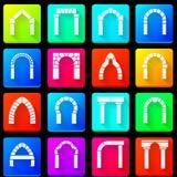 Gekleurde pictogrammeninzameling van bogen Royalty-vrije Stock Foto
