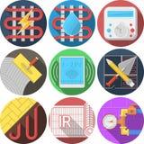 Gekleurde pictogrammeninzameling voor vloerverwarming Royalty-vrije Stock Foto's