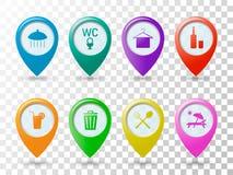 Gekleurde pictogrammenwijzers op het strand, etiketten voor de kaart, de benoeming van belangrijke plaatsen op de plaats van rust vector illustratie