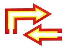 Gekleurde pijlen: rechtstreeks en draai Royalty-vrije Stock Afbeelding