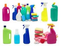 Gekleurde plastic flessen Stock Foto's