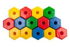 Gekleurde plastic zeshoeken Royalty-vrije Stock Fotografie