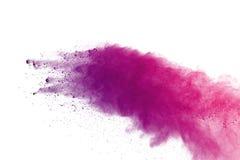 Gekleurde poederexplosie op witte achtergrond Het veelkleurige poeder splatted isolate Kleurrijke wolk Het gekleurde stof explode Stock Afbeeldingen