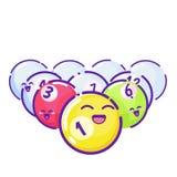 gekleurde poolballen Vlakke stijl met lange schaduwen Stock Foto's