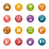 Gekleurde punten - de pictogrammen van de Waarschuwing stock illustratie