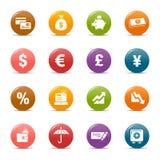 Gekleurde punten - de pictogrammen van Financiën Stock Fotografie