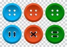 Gekleurde reeks ronde kledingsknopen met draad Vector illustratie royalty-vrije illustratie