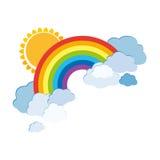 Gekleurde regenbogen met wolken en zon Beeldverhaalillustratie op witte achtergrond wordt geïsoleerd die Vector Royalty-vrije Stock Foto