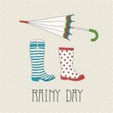 Gekleurde rubberlaarzen met paraplu Royalty-vrije Stock Afbeelding