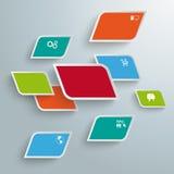 Gekleurde Schuine randrechthoeken Abstracte Infographic PiAd Stock Afbeeldingen