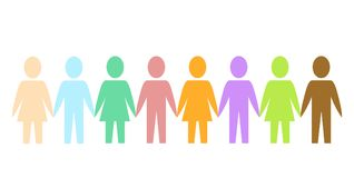 Gekleurde silhouetdocument mensen als gemeenschap op wit, voorraad vec royalty-vrije illustratie