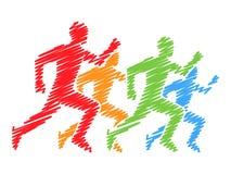 Gekleurde silhouetten van agenten Vector het lopen en marathonembleem Stock Afbeeldingen