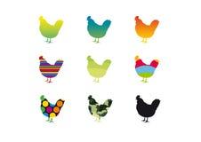 Gekleurde silhouetten van kippen Royalty-vrije Stock Afbeelding