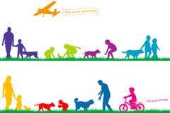 Gekleurde silhouetten van mensen en dieren Royalty-vrije Stock Foto