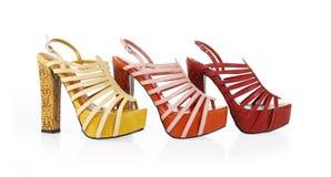 Gekleurde snakeskin schoeneninzameling Stock Fotografie