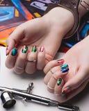 Gekleurde Spijkers Stock Foto