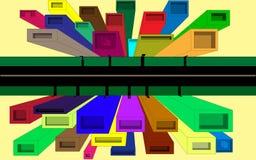 Gekleurde stad Royalty-vrije Stock Afbeelding