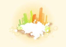 Gekleurde stad met plaats voor tekst. Vector Royalty-vrije Stock Afbeelding