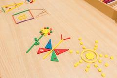 Gekleurde stokken voor het vouwen van cijfers Royalty-vrije Stock Afbeeldingen