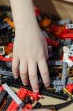 Gekleurde stuk speelgoed bakstenen stock fotografie