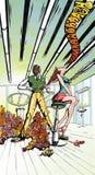 Gekleurde tekening van kappersalon Stock Afbeelding