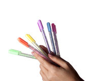 Gekleurde ter beschikking geplaatste pennen Royalty-vrije Stock Foto