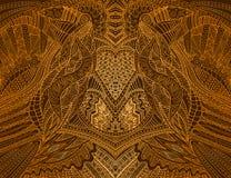 Gekleurde uitstekende achtergrond, steampunk krabbelstijl, gouden gele gradiëntkleur Geïsoleerd patroon Vectorhandtekening stock illustratie