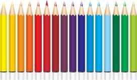 Gekleurde vectorpotloden Stock Foto's