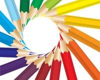 Gekleurde vectorpotloden Stock Afbeeldingen