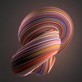 Gekleurde verdraaide vorm De computer produceerde abstracte geometrische 3D teruggeeft illustratie Stock Fotografie