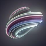 Gekleurde verdraaide vorm De computer produceerde abstracte geometrische 3D teruggeeft illustratie Royalty-vrije Stock Foto