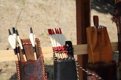 Gekleurde veren voor pijlen in quiver Stock Foto