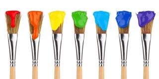 Gekleurde verfborstels Stock Foto